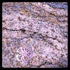 Silver Hibiscus flower necklace
